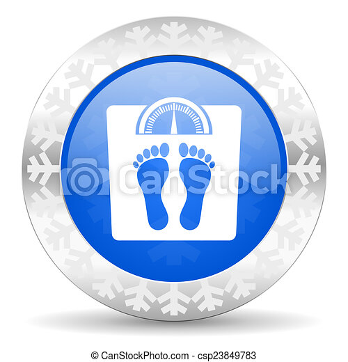 weight blue icon, christmas button - csp23849783
