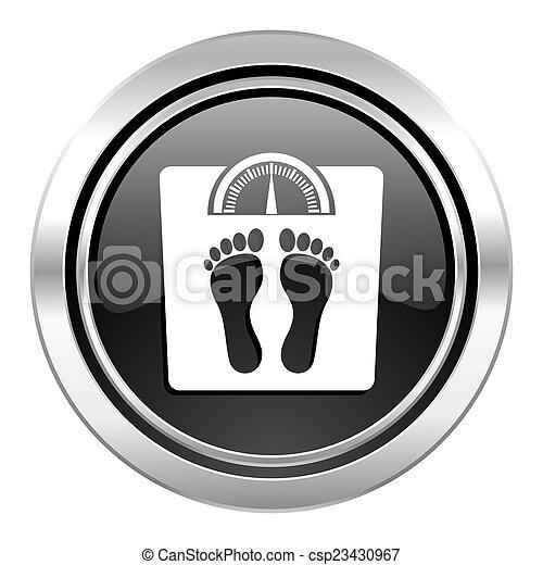 weight icon, black chrome button - csp23430967