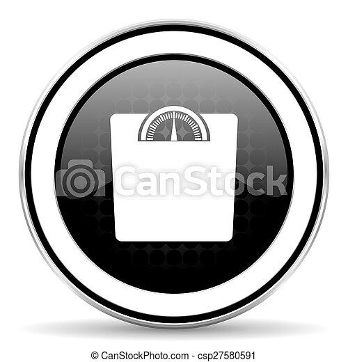weight icon, black chrome button - csp27580591
