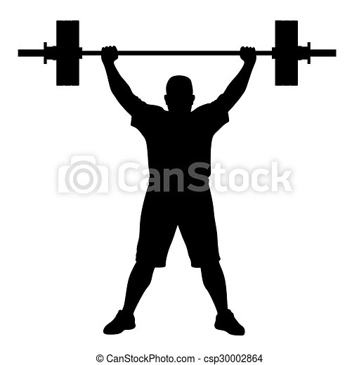 vector illustration of weight lifter athlete silhouette clip art rh canstockphoto com weight lifter clip art weightlifting clipart black and white