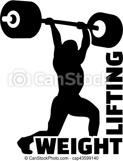 weight lifting man silhouette vector