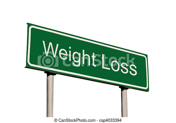Weight Loss Green Road Sign Isolated - csp4033394