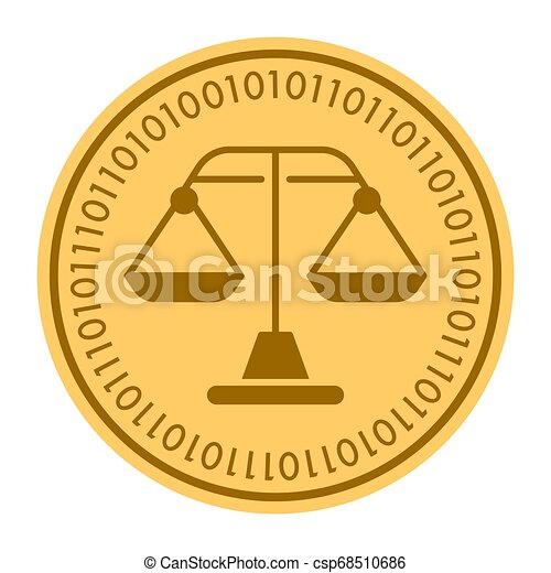 Weight Scales golden digital coin icon. gold yellow flat coin cryptocurrency symbol. Coin isolated on white. Eps 10 - csp68510686