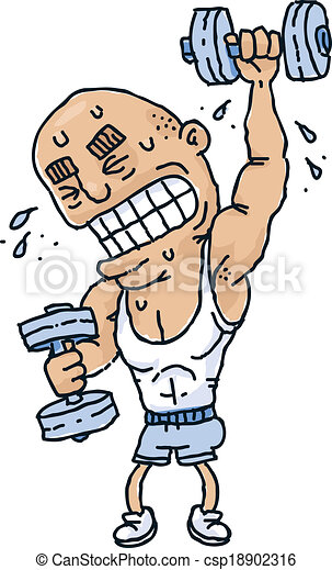 Weight strain. A cartoon man strains to lift weights and