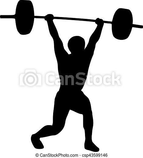 weightlifter silhouette eps vector search clip art illustration rh canstockphoto co uk weightlifter clipart free weightlifting clipart free