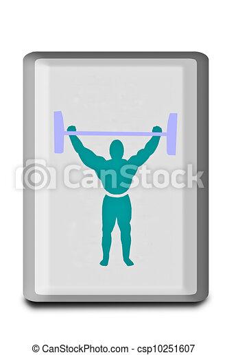 weightlifter, tło, odizolowany, znak, biały - csp10251607