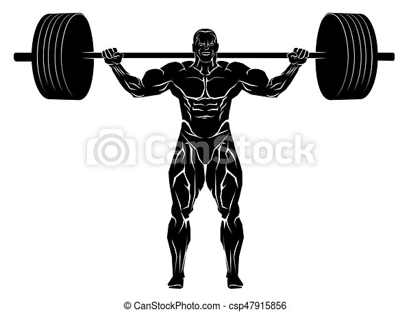 vector illustration of a weightlifter with barbell clipart vector rh canstockphoto com weightlifter clipart pictures weightlifting clipart black and white