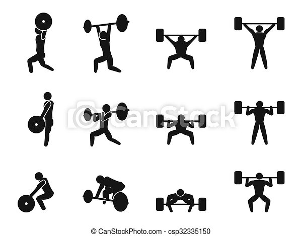 Weightlifting icon set - csp32335150