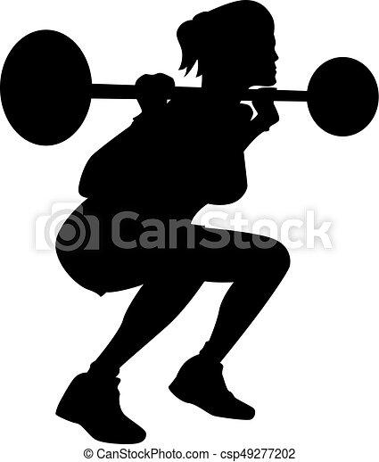 Weightlifting, mujer, silueta. Pesado, mujer, silueta ...