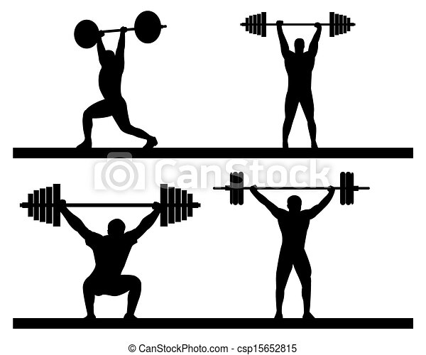 weightlifting snatch push on a white background vector clip art rh canstockphoto com weight lifter clip art free weightlifter clipart free