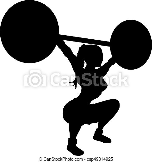 Weightlifting Woman Silhouette Vector Of An