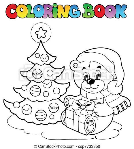 Weihnachten, farbton- buch, bär, teddy. Färbung,... Vektor Clipart ...
