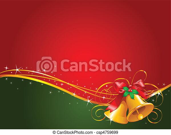 weihnachten, hintergrund, glocken - csp4759699