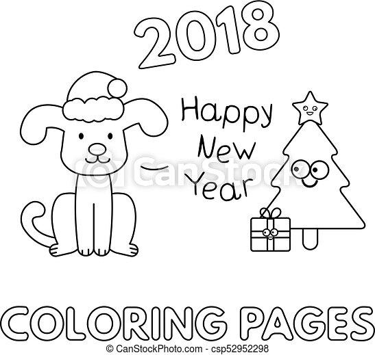 Weihnachten, karikatur, färbung, seiten, hund. Baum.,... EPS ...