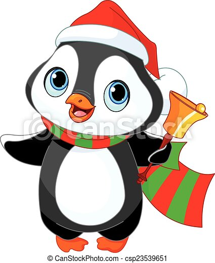 netter weihnachts pinguin mit jingle bell. Black Bedroom Furniture Sets. Home Design Ideas