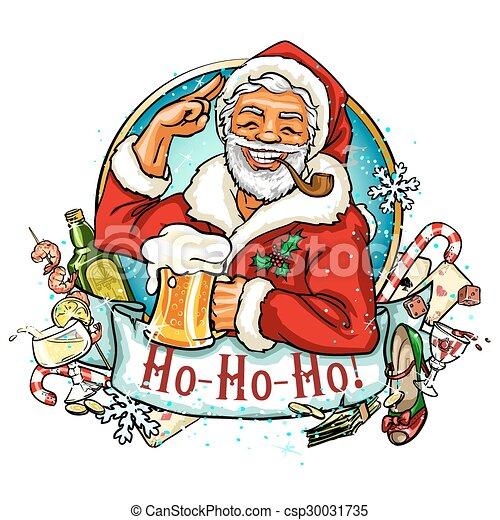 Weihnachtsetikett mit Santa - csp30031735