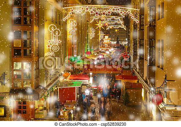 Dresden Weihnachten.Weihnachten Straße Deutschland Dresden Nacht
