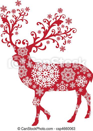 weihnachten, vektor, hirsch - csp4660063