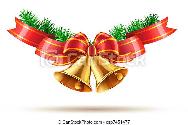 weihnachtsglocken goldenes gl nzend abbildung schleife. Black Bedroom Furniture Sets. Home Design Ideas