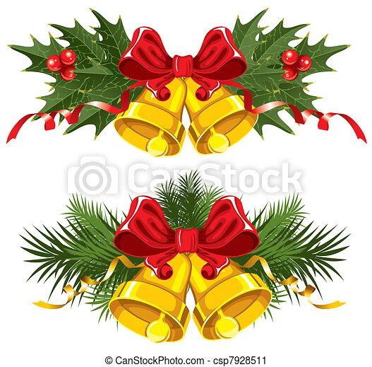 goldene weihnachtsglocken mit rotem bogen. Black Bedroom Furniture Sets. Home Design Ideas