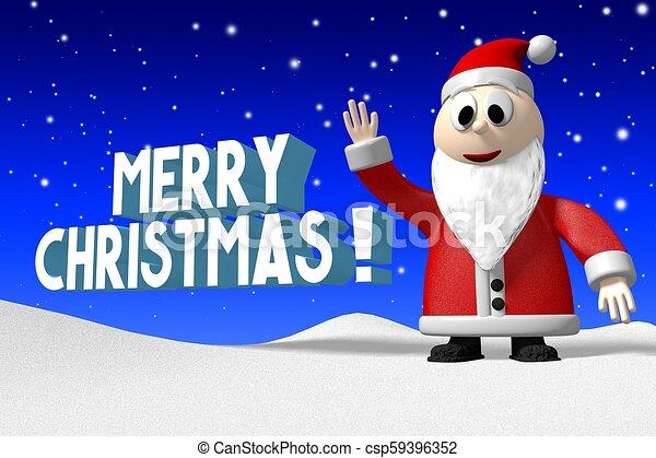 weihnachtsmann, -, fröhlich, christmas!, 3d - csp59396352