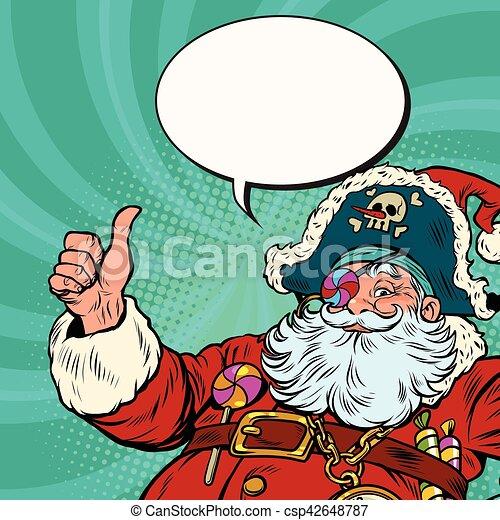 Weihnachtsmann, pirat, wünsche, frohe weihnacht. Vektor, kunst ...