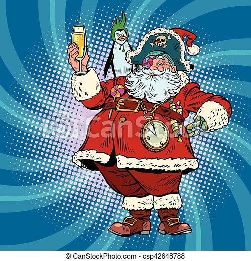 Weihnachtsmann, pirat, wünsche, frohe weihnacht. Toast, wünsche ...