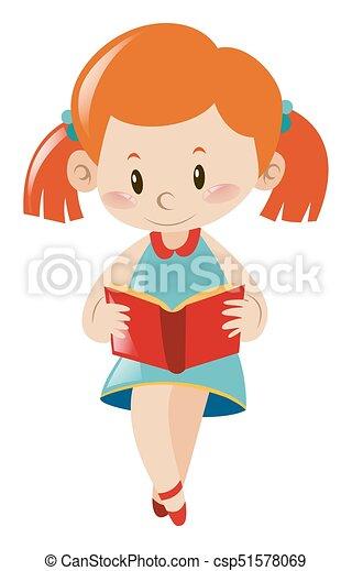 weinig; niet zo(veel), boek, lezende , meisje - csp51578069