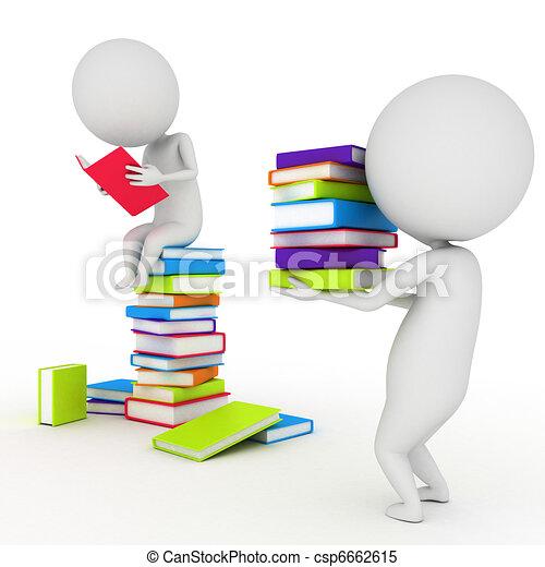 weinig; niet zo(veel), lezende , boekjes , kerel - csp6662615