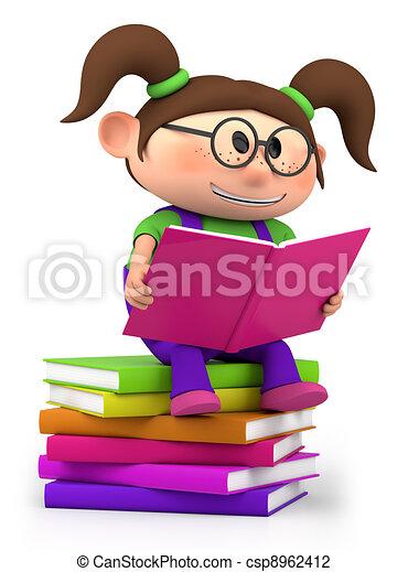 weinig; niet zo(veel), lezende , meisje - csp8962412