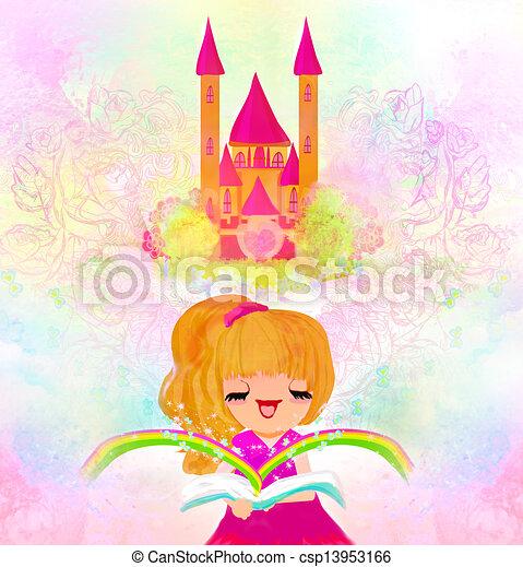 weinig; niet zo(veel), lezende , meisje, fairy verhalen - csp13953166