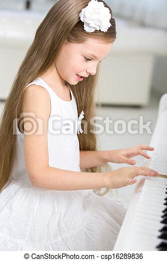 weinig; niet zo(veel), musicus, spelend, verticaal, piano, jurkje, witte  - csp16289836