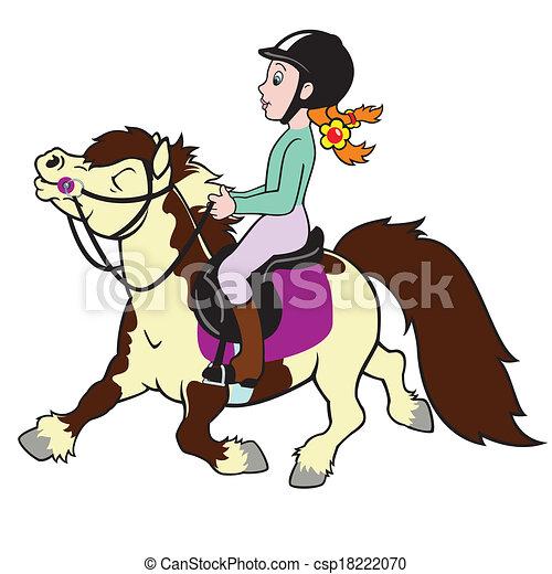 weinig; niet zo(veel), paardrijden, meisje, pony - csp18222070