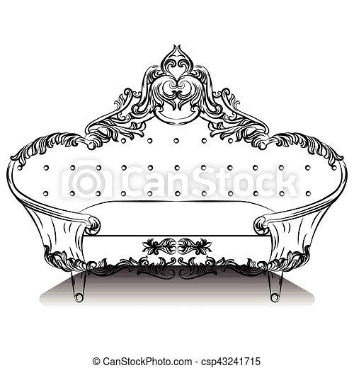 Vintage Luxus Barocksofa Mit Luxuriosen Ornamenten Elegante