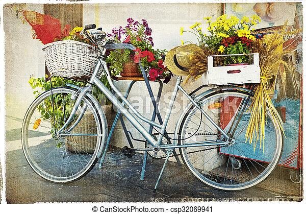 Fahrrad Karte.Weinlese Blumen Fahrrad Karte