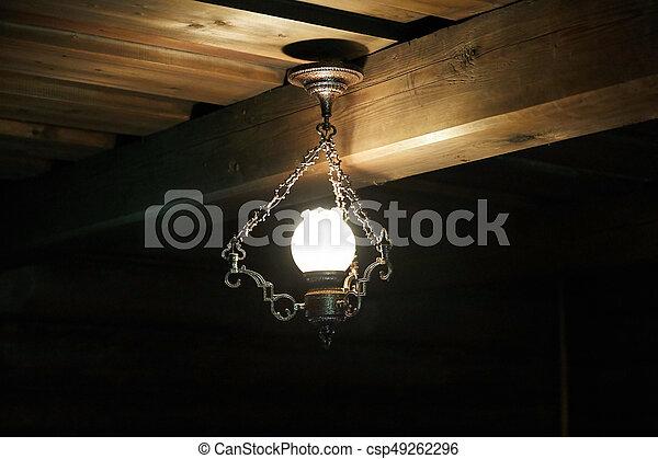 weinlese, decke lampe, anhänger, licht
