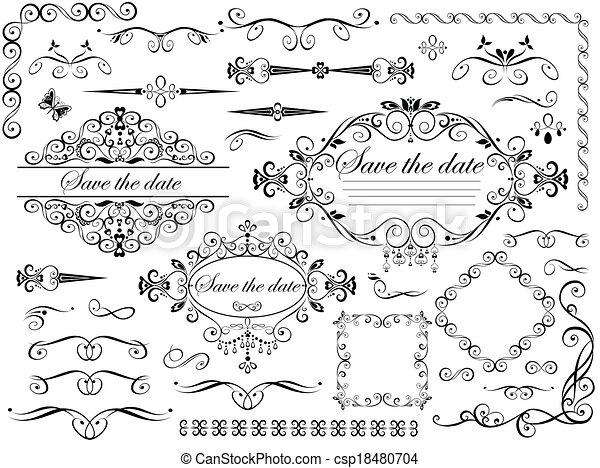 weinlese, elemente, design, wedding - csp18480704