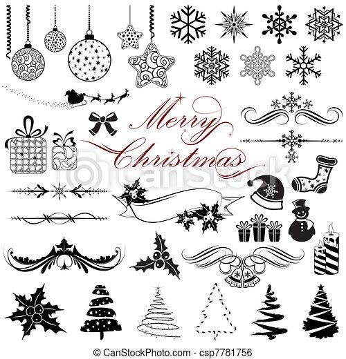 weinlese, elemente, design, weihnachten - csp7781756