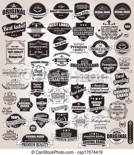 Eine Reihe alter Retro-Labels - csp17074419