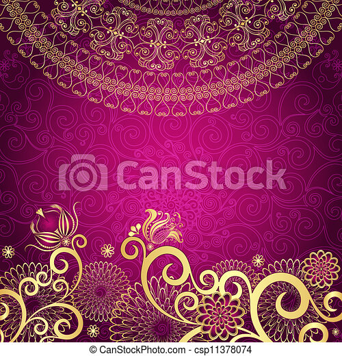 weinlese, gold-purple, rahmen - csp11378074