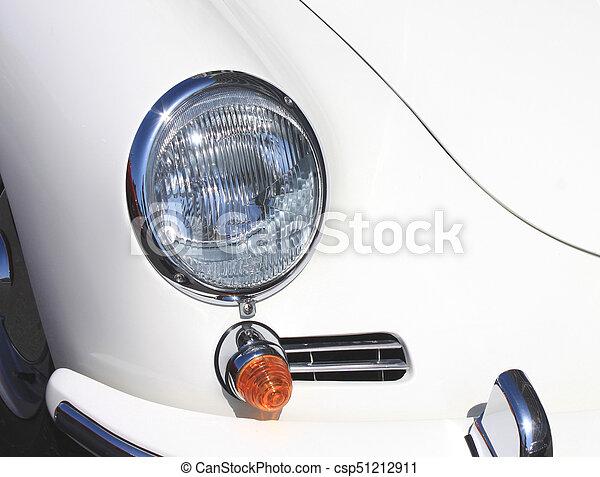 weinlese, nahaufnahme, scheinwerfer, altes , auto - csp51212911