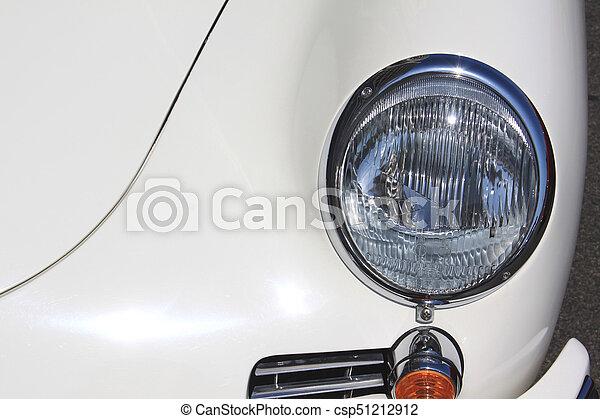 weinlese, nahaufnahme, scheinwerfer, altes , auto - csp51212912
