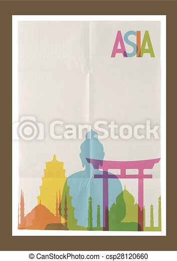 weinlese, reise, asia, skyline, hintergrund, wahrzeichen - csp28120660