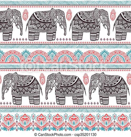 weinlese stammes elefant seamless indische muster vektoren suche clipart. Black Bedroom Furniture Sets. Home Design Ideas