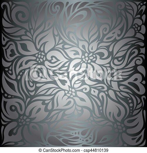 Weinlese Tapete Hintergrund Blumen Glanzend Silber Weinlese