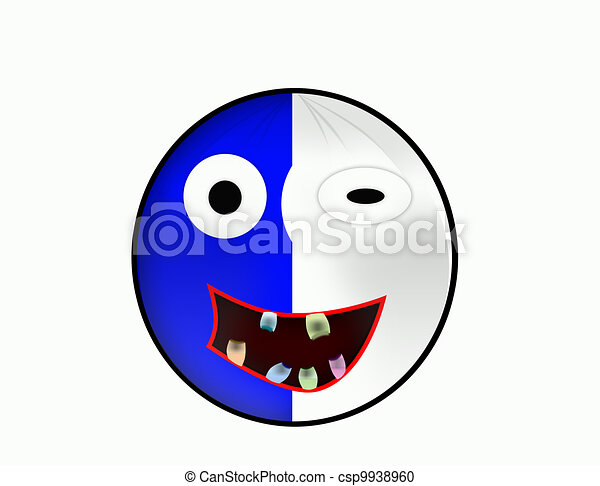 weird face smiley blue and white face smiley in mainclors blue and
