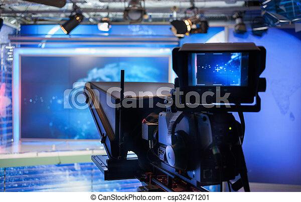 weisen, fernsehapparat, -, aufnahme, fotoapperat, video, studio - csp32471201