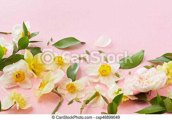 Weisse blumen, hintergrund, hülle. Rosa, ideas., kopieren ...
