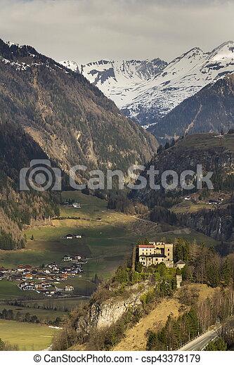 Weissenstein Castle in ski resort Matrei in Osttirol, Austria - csp43378179