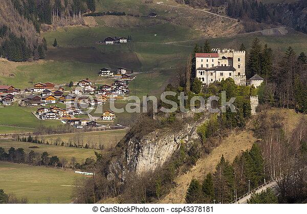 Weissenstein Castle in ski resort Matrei in Osttirol, Austria - csp43378181